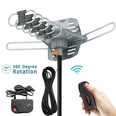 990Mile Outdoor TV Antenna Motorized Amplified HDTV 1080P 4K 36dB 360° Rotation