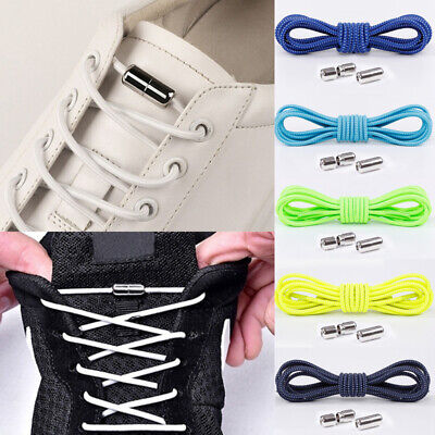 Unisex Lazy Elastic Shoelaces Locking Round No Tie Running Sneakers Shoe Laces