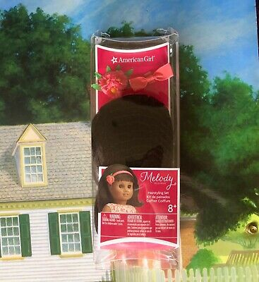 American Girl MELODY Doll~ Hairstyling Set~Wig~Bow~Pink Flower Corsage~Hair