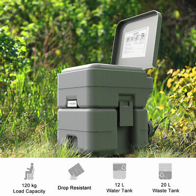 5.3Gallon 20L Portable Toilet Flush Travel Camping Commode Potty In /Outdoor US