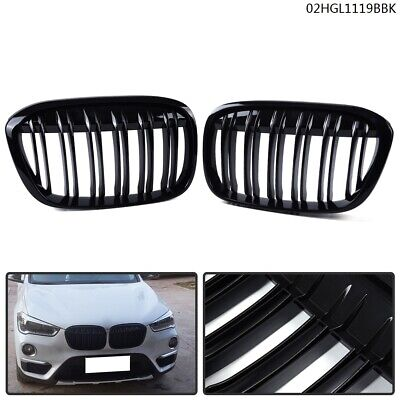 M4 STYLE PIANO GLOSS BLACK Front Hood Grilles Grille FOR 16-18 BMW F48 X1