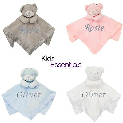 Baby Boy Girl Personalised Name Comforter Blanket Teddy Bear Shower Announcement
