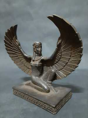 Rare ANCIENT EGYPTIAN ANTIQUES Goddess Winged ISIS Egypt Hand Carved Stone BC