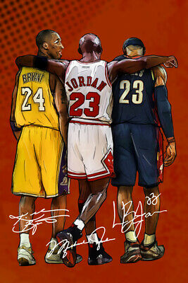 Kobe Bryant Michael Jordan LeBron James Tribute Art Wall Poster - POSTER 24x36