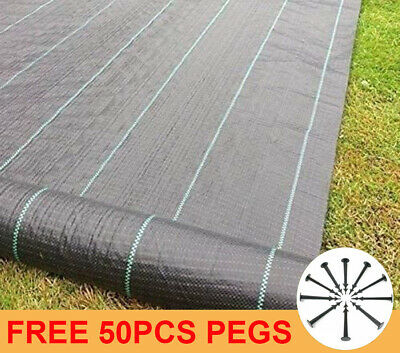 Heavy Duty Ground Cover Landscape Fabric Weed Control 1m 2m 3m 4m Widths + Pegs