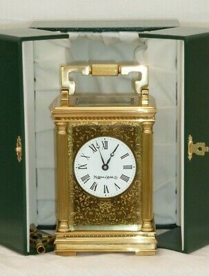 Mappin & Webb 8 Day Solid Brass Masked Filigree Carriage Mantel Clock + Case