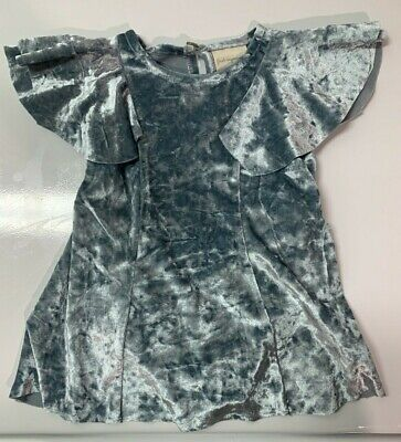 Baby Girls Crushed Velvet Tracksuit Top And Bottoms Navy Silver NEW Ruffle