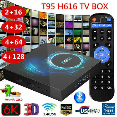 T95 6K 16G/32G/64G/128G Android 10.0 TV Box H616 Quad Core 5G WiFi BT USB Media