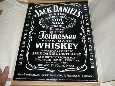 "Jack Daniels Old #7 Brand Black and White 17"" Square Bar Mat Super Sized  ""17""."
