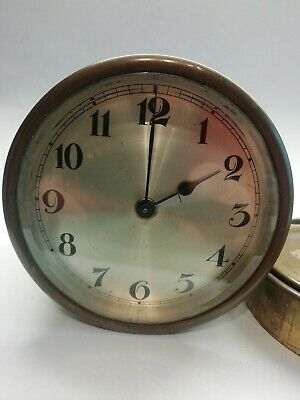 "Vintage/antique  brass mechanical winding up barrel clock working 4""face 3""long"