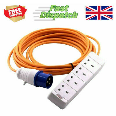 Caravan Camping Mains Electric Hookup Extension Lead Cable 4 Way Gang UK