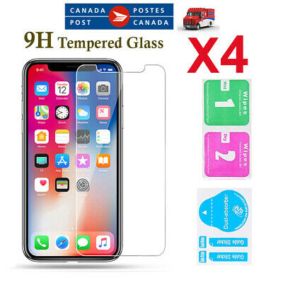 (4 Pack) Tempered Glass Screen Protector iPhone 6 7 8 Plus 11/Pro XR X XS MAX