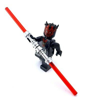 NEW LEGO STAR WARS RED DOUBLE BLADE LIGHTSABER MINIFIG CHROME SILVER DARTH MAUL