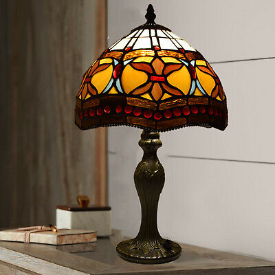 Antique Hand Crafted TIFFANY Style Table Desk Lamp Multi Colour Bed/Living Room