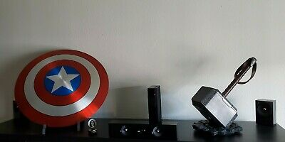 Marvel Captain America Shield (Aluminum) with Stand + Thor Hammer + Compass