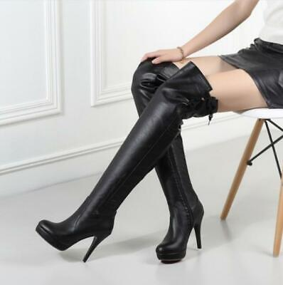 Details about  /Women Boots Round Toe Platform Stiletto Thigh High Boots Over Knee Party Pumps