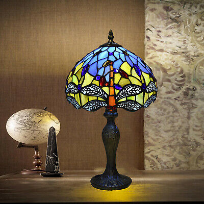 Antique Tiffany Style Table Desk Bedside Lamp Hand Crafted Stained Glass Shade