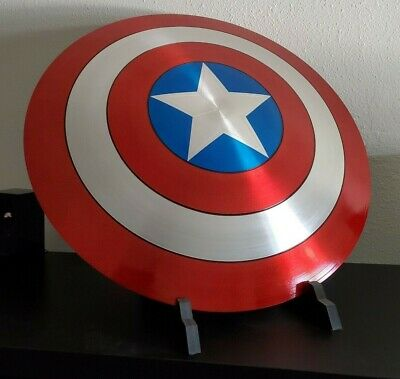 Marvel Captain America Shield (Aluminum) 1:1 Scale with Stand Replica Prop