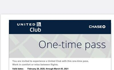 2 United Airlines UA Club Chase One-Time Pass E-Delivery (Exp March 05 ,2020)