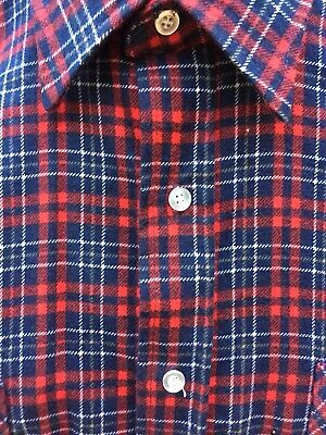 Men's VTG 70's COTTON FLANNEL SHIRT Red White Blue L American Edition USA