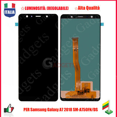 Display Lcd + Touch Screen Per Samsung Galaxy A7 2018 A750 Sm-A750F/Fn/Ds Nero