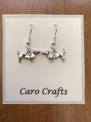 Cute Dachshund earrings on silver plated wires FREEPOST