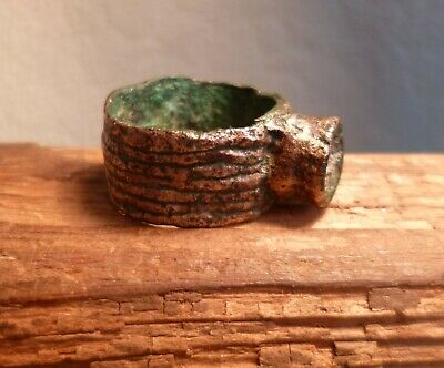 Huge Ancient Roman Bronze Ring With Stunning Decoration-Metal Detecting Find