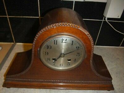 Vintage German Napoleons Hat Pendulum Chiming Mantel Clock Oak Cased