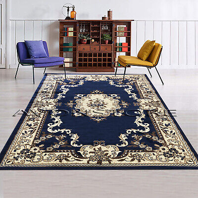Blue Traditional Area Rug Floral Design Classic Room Soft Luxury Rugs Runner Mat