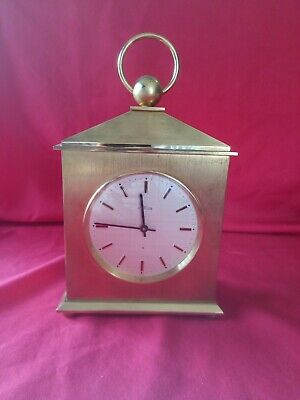 Vintage HEAVY Brass Carriage Clock ANGELUS 8 SWISS MECHANICAL WIND CHIMES WORKS