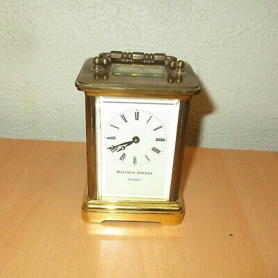 Vintage Matthew Norman London Brass Carriage Clock (Un-Tested) No Key