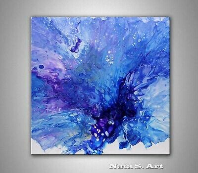 Original Pour Painting Abstract Blue Purple Fluid Painting on Canvas by Nata S