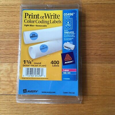 "Printer Circle Label Write Template Removable Adhesive Blue Color 1-1/4"" Round"