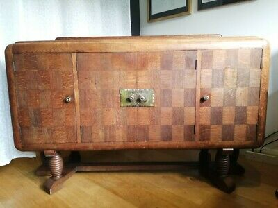 1930s Art Deco antique sideboard. Original. Oak marquetry inlaid and solid wood