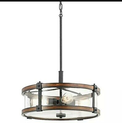 Kichler Barrington 3 Light Distressed Black and Wood Tone Rustic Chandelier