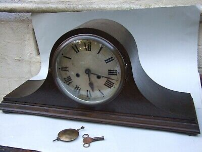 Antique Oak Napoleon Hat German Mantel Clock Wind Up With Chime Working Vgc