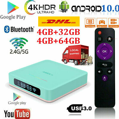 H96MAX 4K 4G+32G/64G Android 10.0 Quad Core Smart TV Box WIFI Media Player HDR10