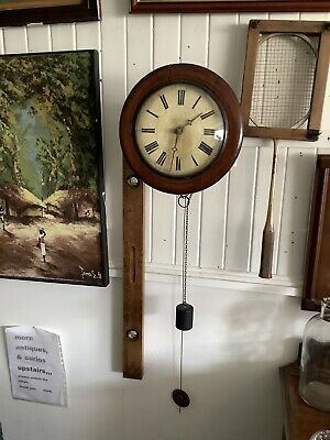 Antique  rare 8.5 inch Dial CHAIN Fusee Mahogany Wall School Clock c1880