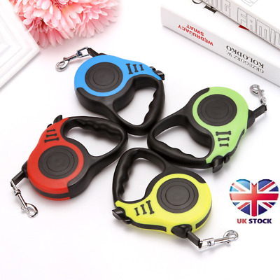 Pet Dog Strong Long Retractable Lead Locking Extending Tape Cord Leash 5M