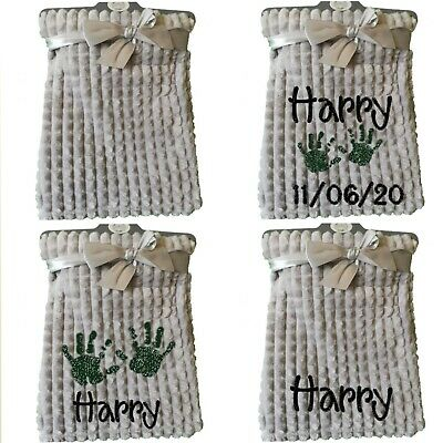 Personalised Embroidered Baby Hands Grey Square Waffle Soft Blanket Boy Girl