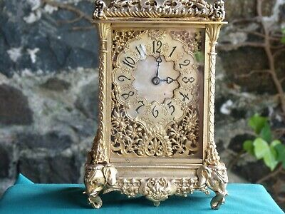 Antique gilded mantle/carriage clock