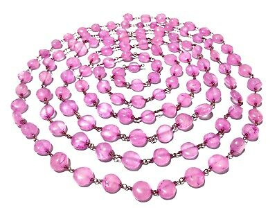 3 Feet Natural Rose Quartz Coin 7-9mm Rosary Beaded Chain 24k Gold Plated Wire