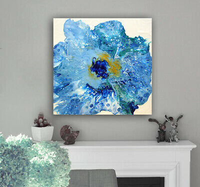 Acrylic Pour Painting Abstract Blue White Fluid Painting on Canvas by Nata S