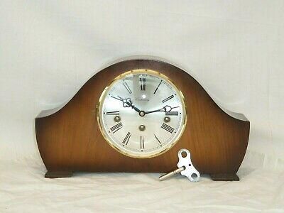 Hermle 8 Day Light Walnut Westminster Mantel Mantle Napoleon Style Chime Clock