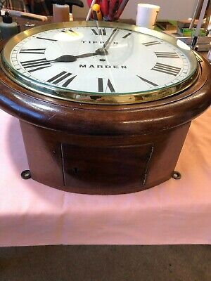 Mid C19th Fusee Wall Dial Clock with mahogany stained case chain driven