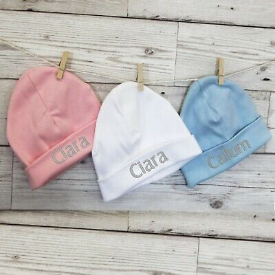 Personalised Baby Girl Boy Newborn Hat Beanie Cotton Pink Blue White 0-3 Months