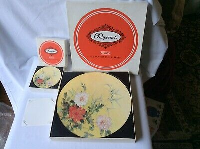 Set Round Pimpernel Place Mats Chinese Rose Design And Matching Set Coasters