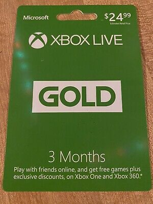 Microsoft Xbox Live 3 Month Gold Card NEW Mail Delivery Only
