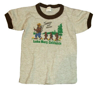 RARE VTG 80s 1984 Smokey the Bear and Friends Ringer Shirt Toddler Size 6-8