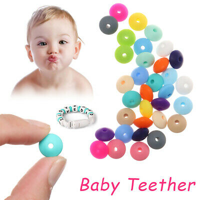 Linsenform Baby Teether Silicon frei BPA Kaue Perlen Mom DIY Halskette